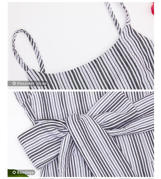 Summer Fashion Women Striped Print Casual Sleeveless Collar Elegant Mini Bodycon Dresses