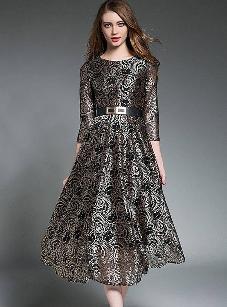 Elegant Lace Hollow Out Gathered Waist Three Quarters Sleeve Skater Dress Without Belt