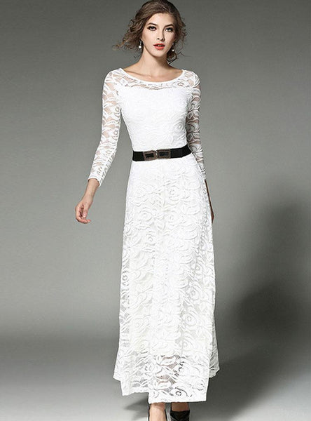 Lace Hollow Out Belt Long Sleeve Maxi Dress