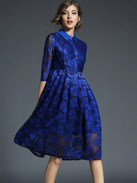 Chic Turn Down Collar Lace Embroidery Big Hem Dress