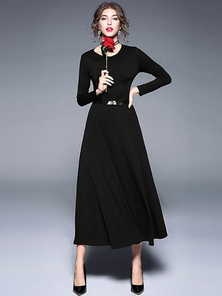 Brief Pure Color Long Sleeve Maxi Dress