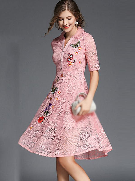 Chic High Neck Long Sleeve Embroidery Skater Dress