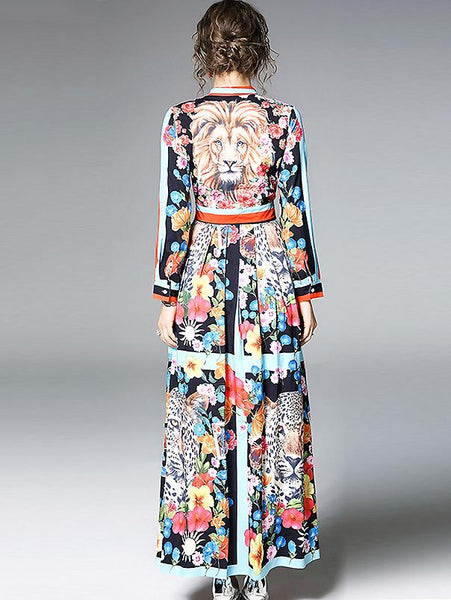 Chic Bowknot Neck Long Sleeve Floral Print Maxi Dress