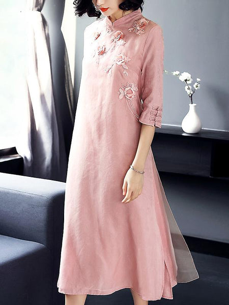 Ethnic Embroidery Improved Cheongsam Maxi Dress