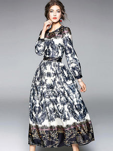 Elegant O-Neck Long Sleeve Big Hem Floral Print Maxi Dress