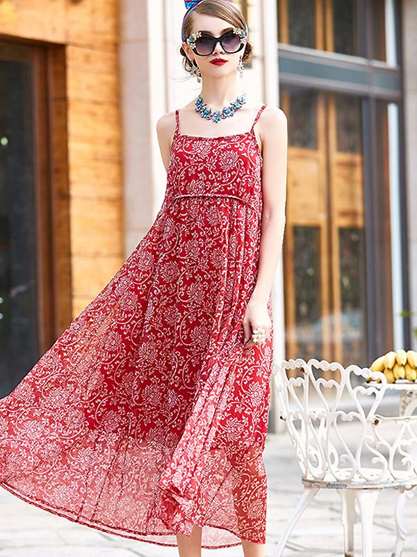 Sexy Suspenders Floral Print Bohemian Maxi Dress
