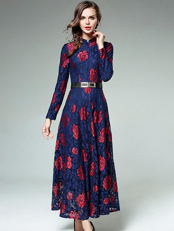 Vintage Stand Collar Lace Button Print Maxi Dress Without Belt