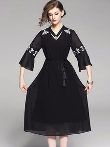 Fashion V-Neck Flare Sleeve Embroidery A-Line Dress