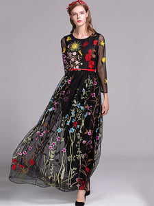 Ethnic O-Neck Long Sleeve Mesh Patchwork Embroidery Maxi Dress