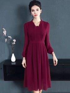 Vintage Pure Color Long Sleeve Pleated Skater Dress
