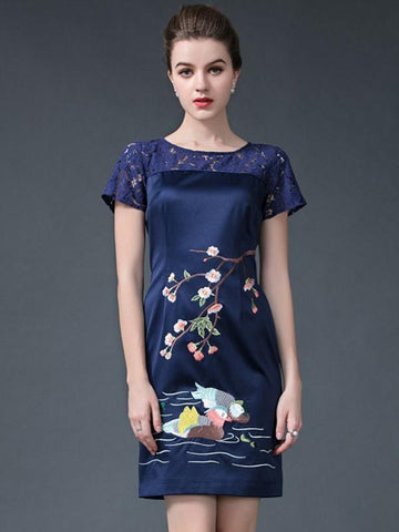 Vintage Embroidery Stitching Short Sleeve Bodycon Dress