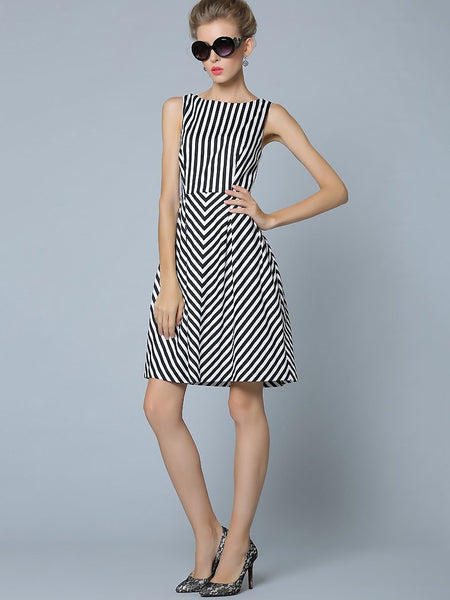Work Stripe O-Neck Sleeveless Skater Dress