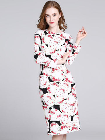 Fashion Rose Pattern O-Neck Long Sleeve Print Bodycon Dress