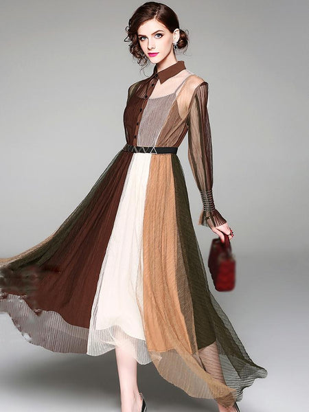 Fashion Hit Color Lapel Collar Irregular Hem Maxi Dress