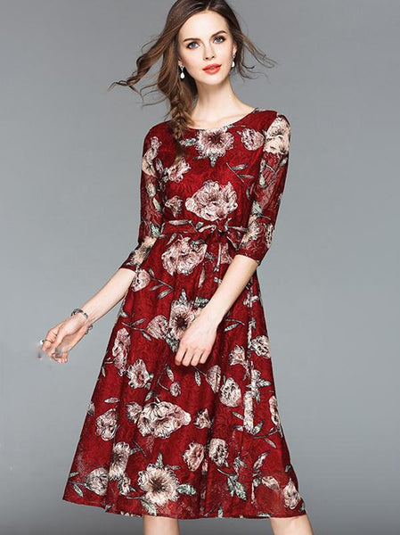Vintage Embroidery O-Neck 3/4 Sleeve Belted Skater Dress