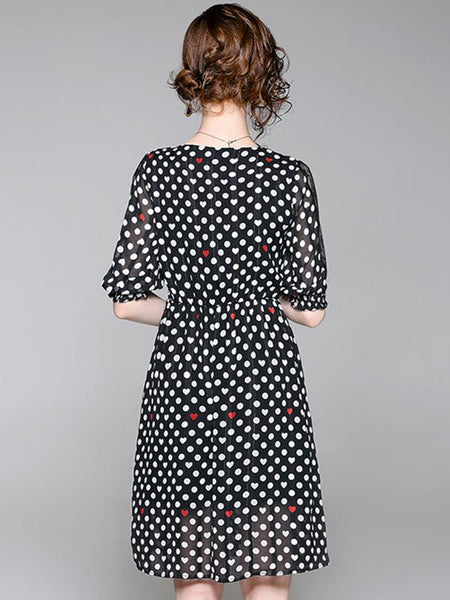 Fashion Lace Stitching Polka Dot Scoop Neck Half Sleeve A-Line Dress