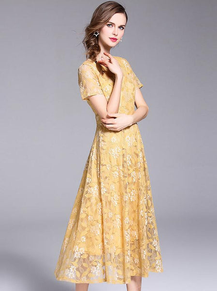 Elegant Lace V-neck Short Sleeve Big Hem Maxi Dress