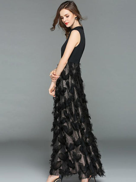Party Stitching Stand Collar Sleeveless Tassels Maxi Dress