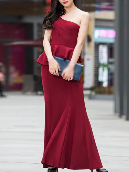 Sexy Pure Color One Shoulder Falbala Party Dress