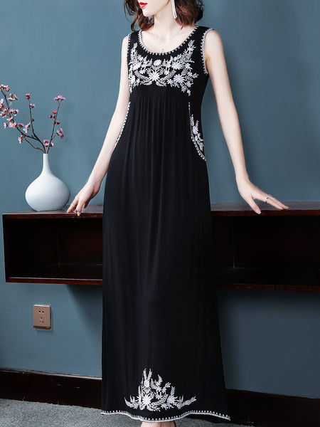 Fashion Embroidery O-Neck Sleeveless Pleated Fit & Flare Dress