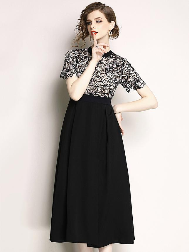 Fashion Lace Stitching O-Neck Short Sleeve Skater Dress
