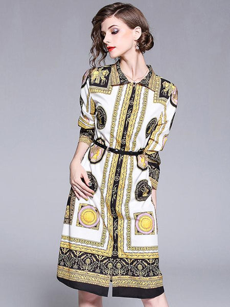 Vintage Lapel Collar Long Sleeve Print A-Line Dress