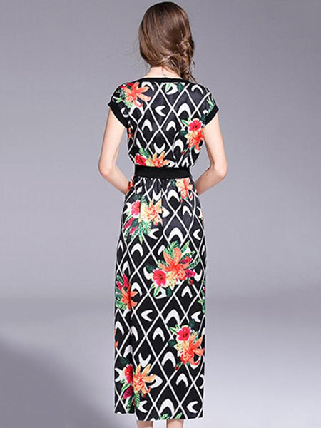 Fashion Chiffon O-Neck Short Sleeve Slit Print A-Line Dress