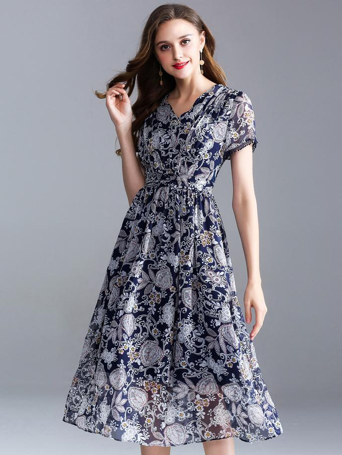 Fashion V-Neck Short Sleeve Print Fit & Flare Dress