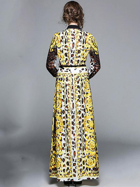 Vintage Leopard Print Stand Collar Long Sleeve Maxi Dress