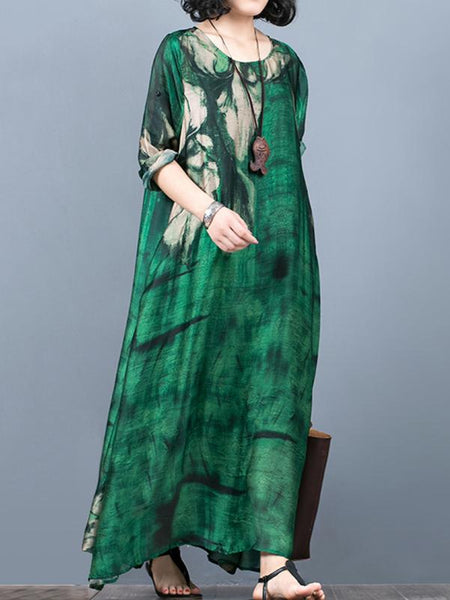 Vintage O-Neck Short Sleeve Print Maxi Dress