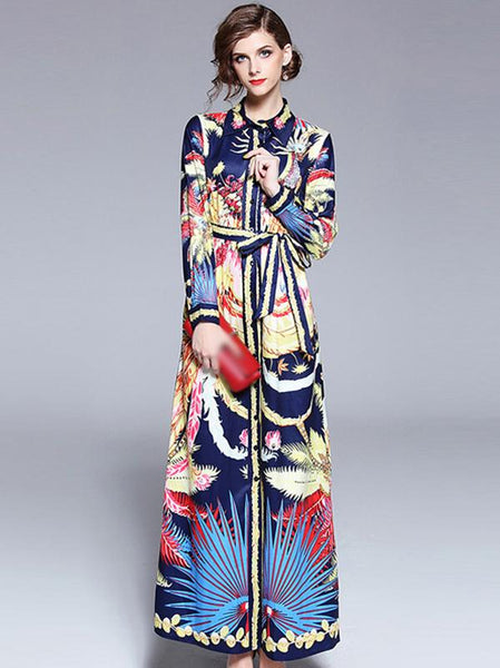 Vintage Lapel Collar Long Sleeve Lacing Print Maxi Dress