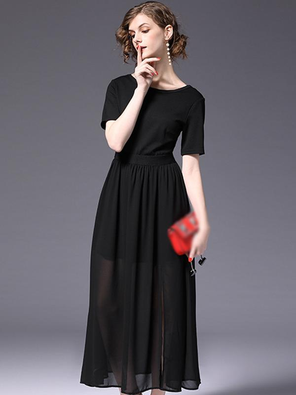 Simple Pure Color O-Neck Backless Maxi Dress