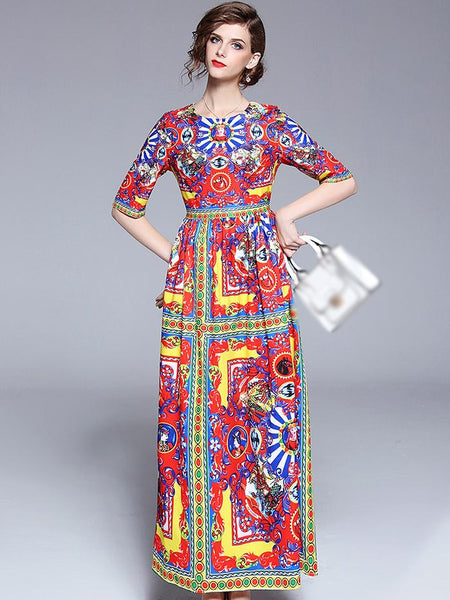 Vintage O-Neck Half Sleeve Big Hem Print Maxi Dress