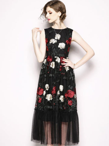 Chic Embroidery O-Neck Sleeveless Mesh Maxi Dress