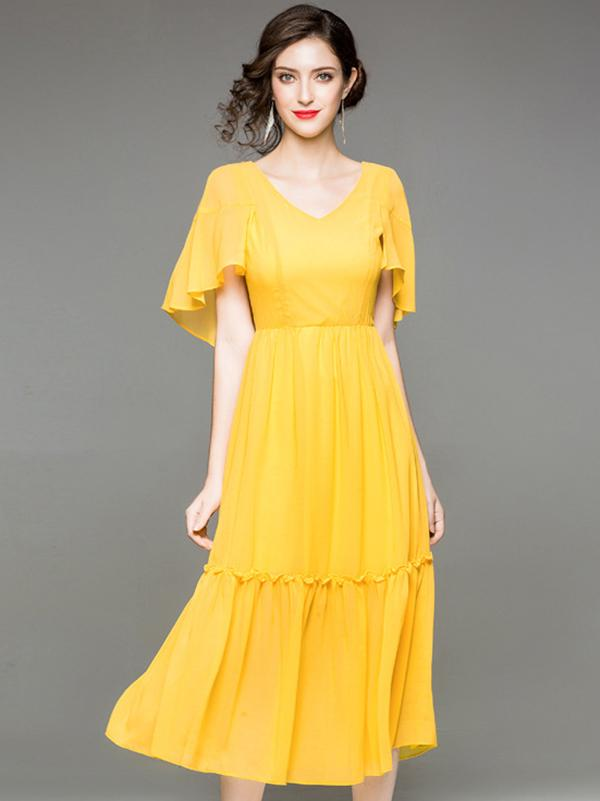 Simple Pure Color V-Neck Flare Sleeve Chiffon Skater Dress