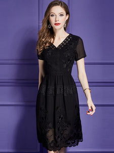 Embroidery V-Neck Short Sleeve Elegant A-Line Dress