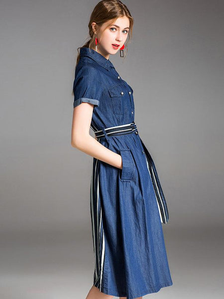 Short Sleeve Turn-Down Collar Belted Pocket Denim Skater Dress
