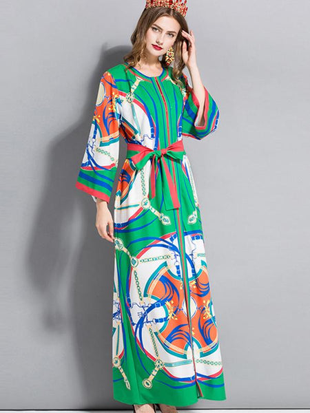 O-Neck Flare Sleeve Lacing Slit Print Maxi Dress