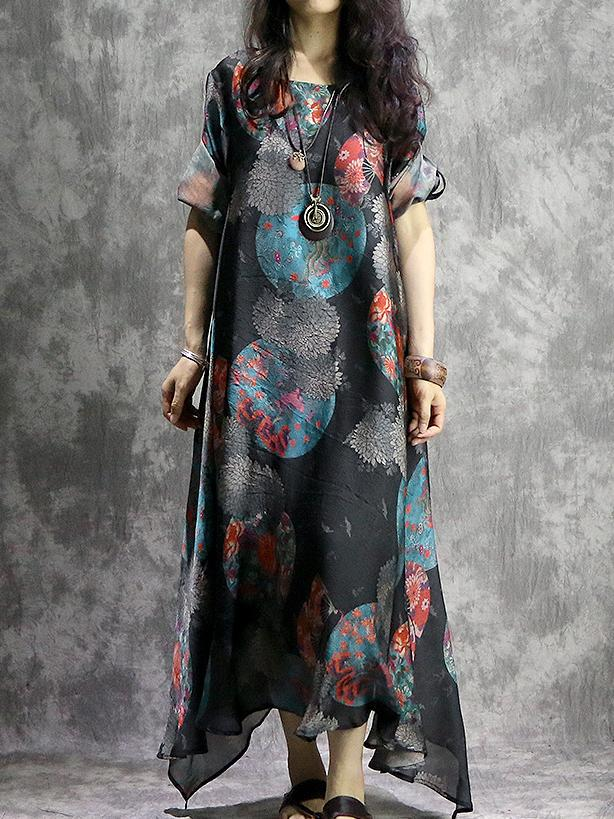 Irregular Short Sleeve O-Neck Print Maxi Dress