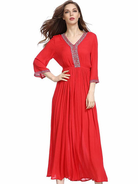 Slit Embroidery V-Neck 3/4 Sleeve Maxi Dress