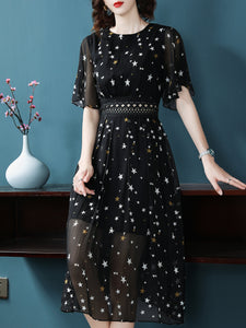 Star Pattern O-Neck Short Sleeve Fit & Flare Dress