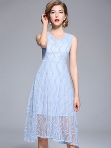 Blue Lace V-Neck Sleeveless Big Hem A-Line Dress