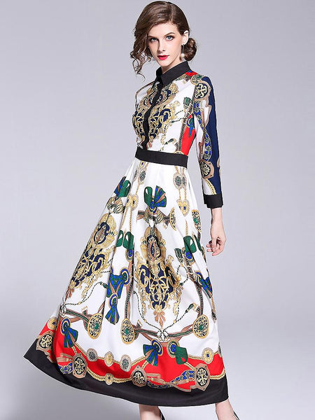 Turn-Down Collar Long Sleeve Vintage Print Maxi Dress