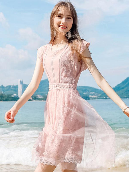 Pink Lace Stitching O-Neck Fit & Flare Dress