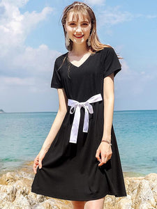 Hit Color Lacing V-Neck Short Sleeve A-Line Dress