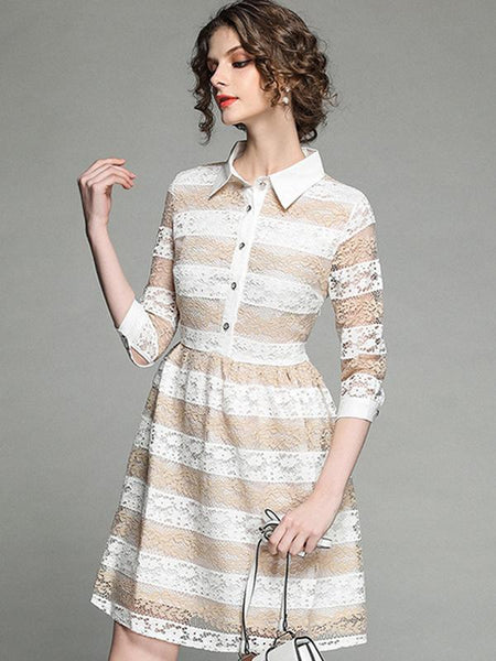 Lace Stripe Turn-Down Collar 3/4 Sleeve A-Line Dress