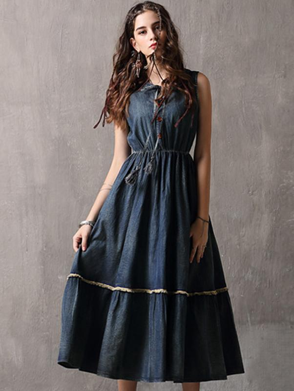 Denim O-Neck Sleeveless Gathered Waist Maxi Dress