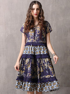 Lace Stitching O-Neck Short Sleeve Print A-Line Dress