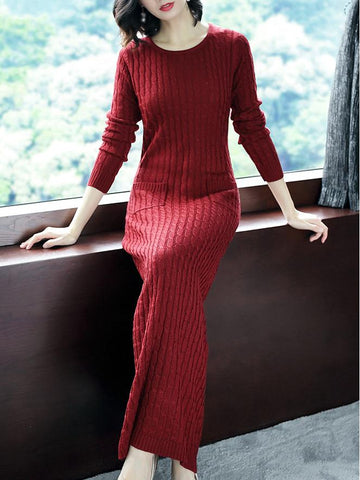 Pocket O-Neck Long Sleeve Pure Color Sweater Dress