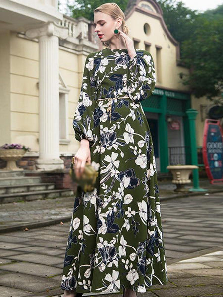 Gathered Waist Big Hem Print Maxi Dress Without Belt